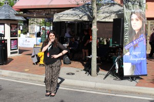 She was happy to pose and really sounded good right at the corner of Hemming Plaza. Brittney Laurence at One Spark