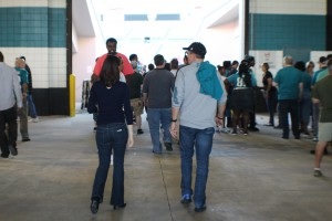 Walking Through the Tunnel at Everbank Field That's my best friend and Fiance, or at least their backsides