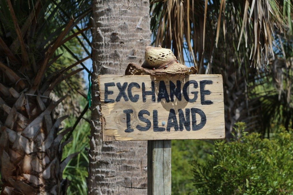 New sign someone made for out Florida State park, Exchange Club Island