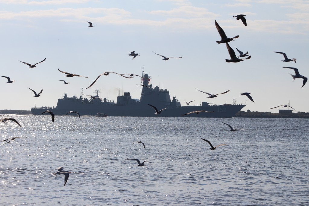 Seagulls flying with Chinese ship 152 sailing into Mayport